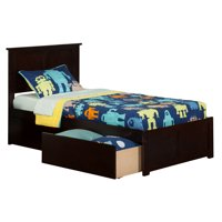 Madison Platform Bed with Flat Panel Foot Board and 2 Urban Bed Drawers in Multiple Colors and Sizes