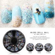 Girl12Queen Mixed Size Glitter Rhinestone 3D Nail Art Tips DIY Manicure Decoration Wheel
