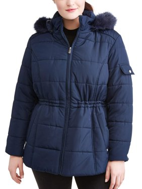 Weather Tamer Women'S Plus-Size Quilted Puffer Jacket W/ Faux Fur-Trim Hood