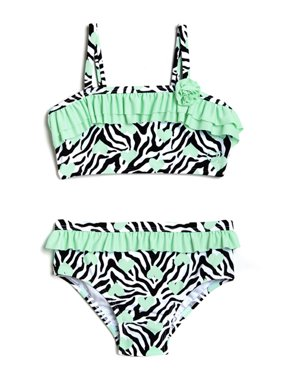 Toddler Girl Heart Skinz Zebra Print Bikini Swimsuit