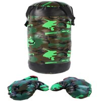 Package Includes: Military Camouflage Camo Themed Kid's Toy Boxing Punching Bag Set w/Stuffed Punching Bag, Pair of Soft Padded Boxing Gloves, Kids