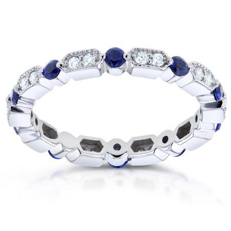 Diamond and Blue Sapphire Eternity Band 3/5 CTW in 14k White (Deep Blue Sapphire Diamond)