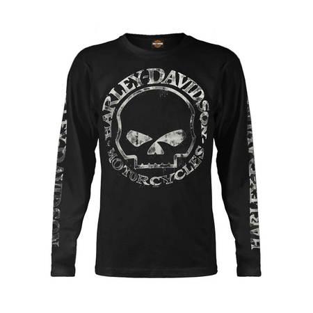 Men's Shirt, Hand Made Willie G Skull Long Sleeve 30294032, Harley Davidson - Skull Hand