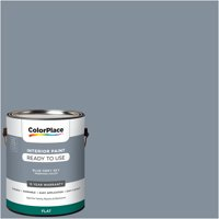 ColorPlace Pre Mixed Ready To Use, Interior Paint, Blue Grey Sky, Flat Finish, 1 Gallon