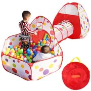 1394ef1f8707 Portable Kids Indoor Outdoor Play Tent Crawl Tunnel Set 3 in 1 Ball Pit Tent