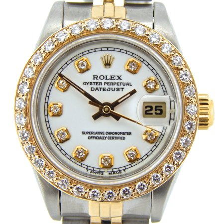 Pre-Owned Ladies Rolex Two-Tone 18K/SS Datejust White Diamond 69173 (SKU 8808137NJUBMT)