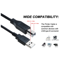 ABLEGRID 6ft USB Cable Data PC Cord For iomega Silver Series Desktop Hard Drive 250GB Hi-Speed USB(with Ferrite Core)