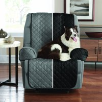 Mainstays Reversible 3 Piece Microfiber Recliner Chair Furniture Cover Protector, Black / Grey