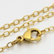 "304 Stainless Steel Cross Chain Necklaces, with Lobster Claw Clasps, Golden, 23.5""(597mm); 2mm, 5 Strands"