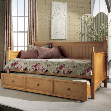Fashion Bed Group Casey II Wood Twin Daybed with Roll Out Trundle Drawer, Honey Maple