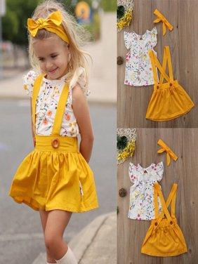 2018 Toddler Girls Baby Clothes Floral Tops+Belt Skirt Dress 3PCS Outfits Set