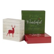 Holiday Time Decorative Christmas Gift Box Set, Christmas Theme, Assorted Sizes, 3 Count