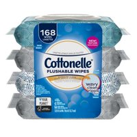 Cottonelle On the Go Wipes, 42 Sheets, 4 Count Soft Pack, Flushable Cleansing Cloths