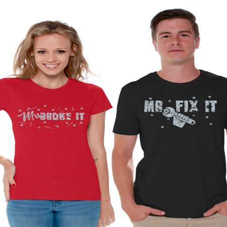 Funny Famous Couples Halloween (Awkward Styles Mrs Broke It and Mr Fix It T Shirt for Couples Mr and Mrs Funny Matching T Shirts Valentine's Day Gifts for Couples Cute Couples Broke It Fix)