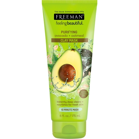 Freeman Feeling Beautiful Clay Face Mask, Purifying Avocado + Oatmeal, 6 fl (Aloe Vera Face Mask For Dry Skin)