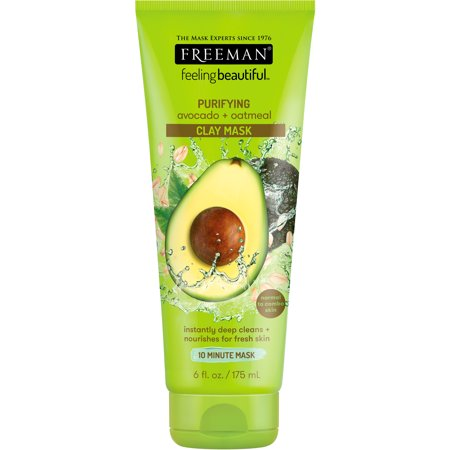 Freeman Feeling Beautiful Clay Face Mask, Purifying Avocado + Oatmeal, 6 fl oz - Enzyme Peel Mask