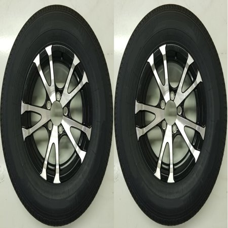 - 2-Pk Eco Trailer Tire Rim ST175/80D13 Load C 5 Lug Aluminum Avalanche Blk Spoke