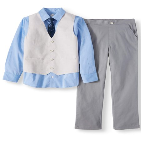 Boys' Dressy Vest Set With Contrast Cuff Shirt, Slub Vest, Skinny Tie and Twill Pants, 4-Piece Outfit Set - Leia Outfits