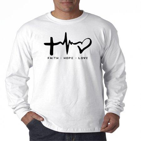 Trendy USA 491 - Unisex Long-Sleeve T-Shirt Faith Hope Love Inspirational Foundation Medium White