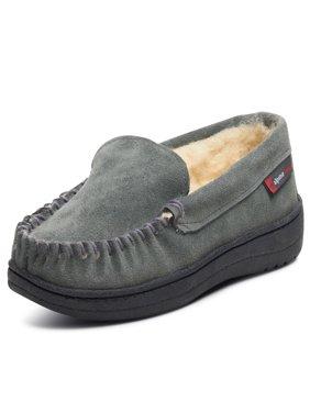 Alpine Swiss Yukon Mens Suede Shearling Moccasin Slippers Moc Toe Slip On Shoes