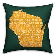 Green Wisconsin Go Team 16x16 Spun Poly Pillow