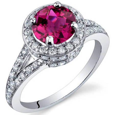 1.75 Carat T.G.W. Created Ruby Rhodium-Plated Sterling Silver Engagement Ring