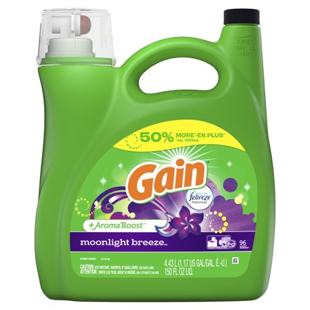 Gain + Aroma Boost Liquid Laundry Detergent with Febreze Freshness, Moonlight Breeze, 96 Loads 150 fl oz