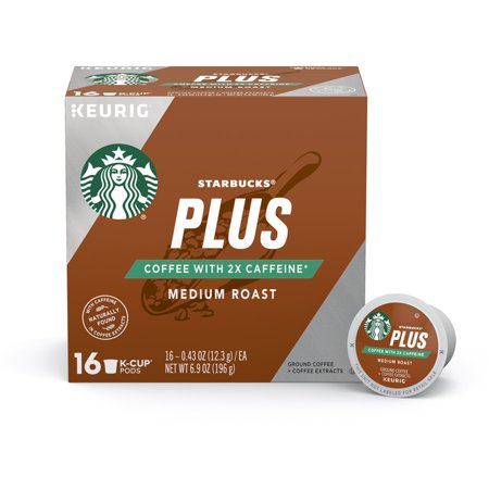 Starbucks Plus Coffee Medium Roast 2X Caffeine Single Cup Coffee for Keurig Brewers, One Box of 16 (16 Total K-Cup