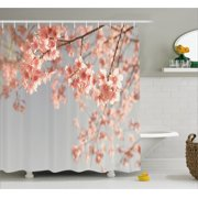 Peach Shower Curtain, Japanese Scenery Sakura Tree Cherry Blossom Nature Photography Coming of Spring,
