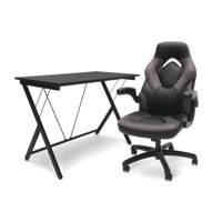 OFM Essentials eSports BattleStation: Racing Gaming Chair, Gaming Desk (Gray/Black)
