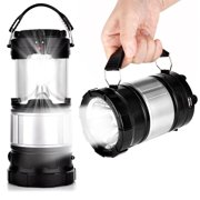 EEEKit Solar Camping Lantern, 2-in-1 Rechargeable Handheld Flashlights, Collapsible LED