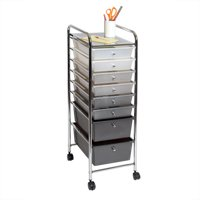 8-Drawer Storage Bin Organizer Cart, White/Gray/Black Gradient by Seville Classics