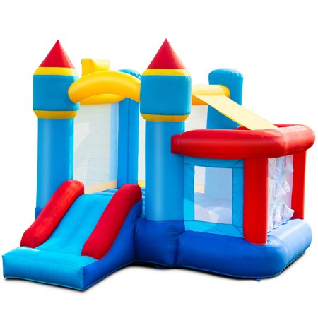 Gymax Inflatable Bounce House Castle Slide Bouncer Kids Basketball Hoop Without Blower](Red Bouncy Ball)