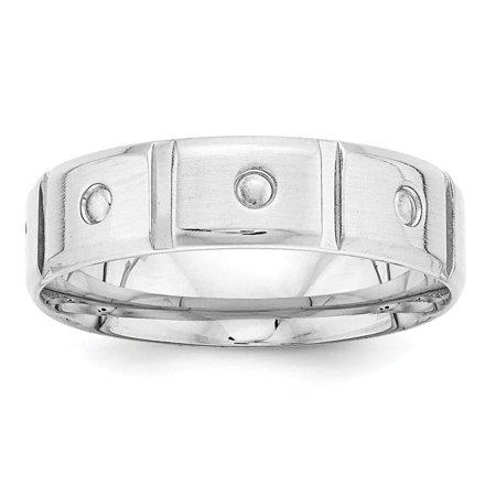 Roy Rose Jewelry 14K White Gold Comfort Fit Fancy Design Satin Finish Beveled Edge Wedding Band Ring Size