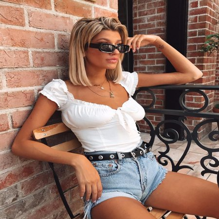 Women Girl Sexy Off-shoulder Vest Tops Plaid Tank Tops Crop Tops Blouse Outfits 4
