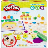 Play-Doh Shape & Learn Letters & Language Set with 6 Cans of Dough & 25+ Tools