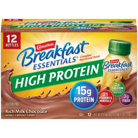 Carnation Breakfast Essentials High Protein Rich Milk Chocolate Nutritional Drink, 8 Fl. Oz., 12