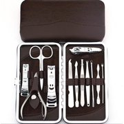 661f089777 12-Piece Stainless Steel Manicure and Pedicure Cuticle Nail Toenail  Clippers Grooming Set with Portable