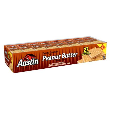 Austin Toasty Crackers with Peanut Butter Sandwich Crackers Value Pack, 1.38 Oz., 27