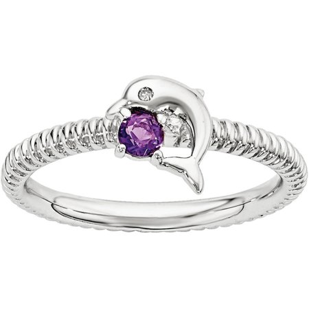 Stackable Expressions Amethyst and Diamond Sterling Silver Dolphin Ring