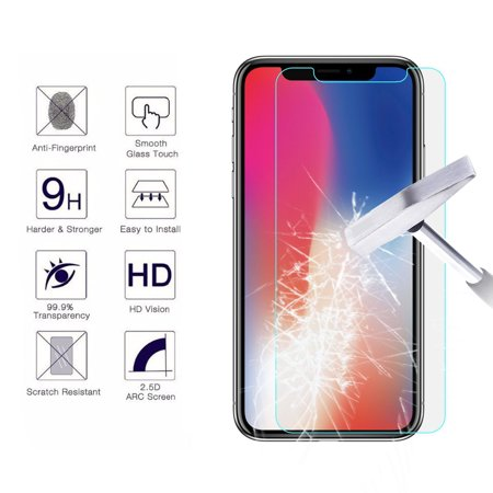 [1-Pack] iPhone Xs Max / iPhone XR / iPhone XS / iPhone X Screen Protector, Njjex 9H HD Ultra Clear Anti-Bubble Scratch Proof Tempered Glass Screen Protector