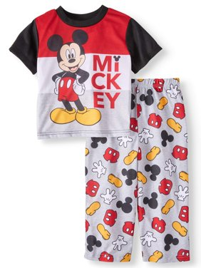 Toddler Boys' Mickey Mouse Short Sleeve Top and Pants, 2-Piece Pajama Set
