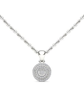 Imperial 1/8Ct TDW 10K White Gold Diamond Halo Necklace
