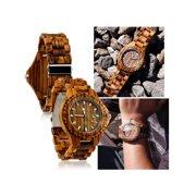 Fashion Zebrawood Wood Wrist BambooWatch Night Vision Quartz Men's Wooden Wristwatch