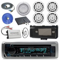 """Kenwood KMRD375BT Marine Audio Bluetooth CD Player Receiver W/ Cover - Bundle With 4x 6.5"""" White Speakers + 10"""" Inch Suboofer W/ Amp + 4-channel Amplifier + Enrock Antenna + 17' RCA Cable + 50Ft Wire"""