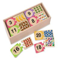 Melissa & Doug Self-Correcting Wooden Number Puzzles with Storage Box, 40pc