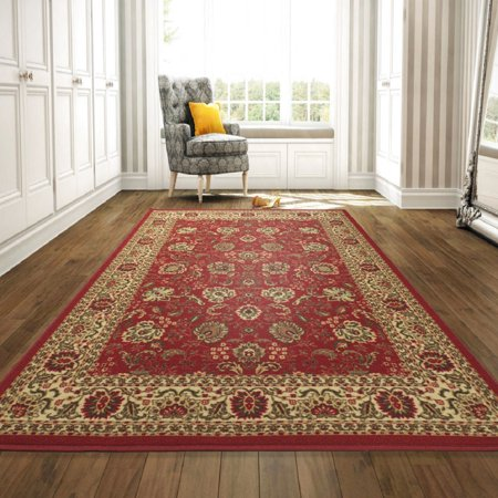 - Ottomanson Ottohome Collection Traditional Persian Oriental Floral Design Non-Slip Rubber Backing Area or Runner Rug, Red