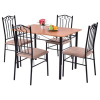 Costway 5 Pcs Dining Set Wooden Table and 4 Cushioned Chairs Deals