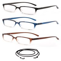 "3 Pack Newbee Fashion- ""Rafael"" Spring Hinge Bifocal Reading Glasses with Translucent Frame Premium Design with Lanyard +1.00"