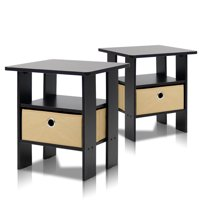 Furinno 2 Petite End Table Bedroom Night Stand - Set of Two, Multiple Finishes